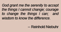 Serenity Prayer quote by Reinhold Niebuhr